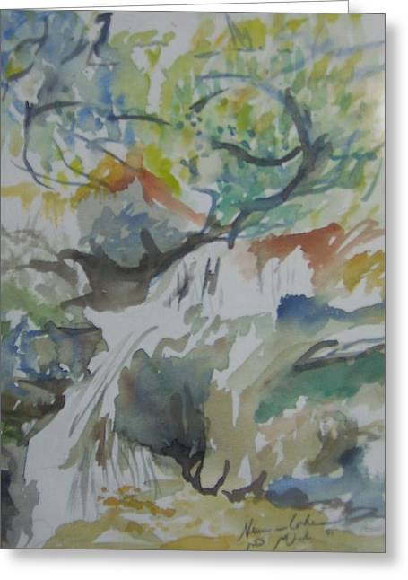 Jordan Paintings Greeting Cards - Jordan River Waterfall Greeting Card by Esther Newman-Cohen