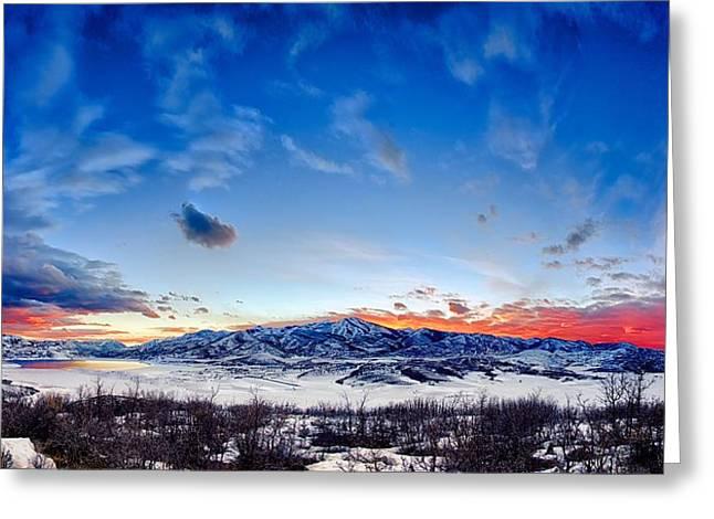 Kayta Kobayashi Greeting Cards - Jordanelle Reservoir in Winter Greeting Card by Kayta Kobayashi