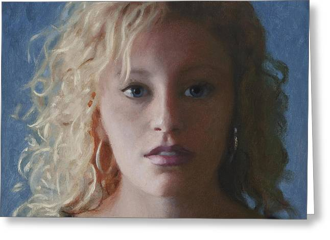 Clever Paintings Greeting Cards - Jordyn Greeting Card by Charles Pompilius