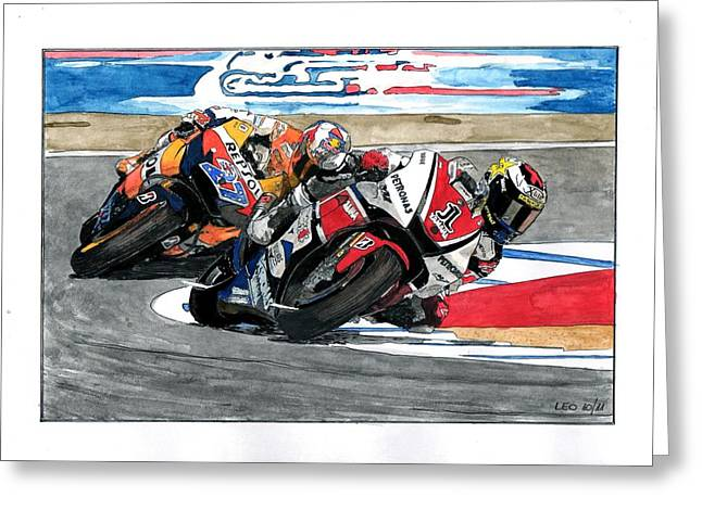 Jorge Lorenzo And Casey Stoner Greeting Card by Leonardo Baigorria