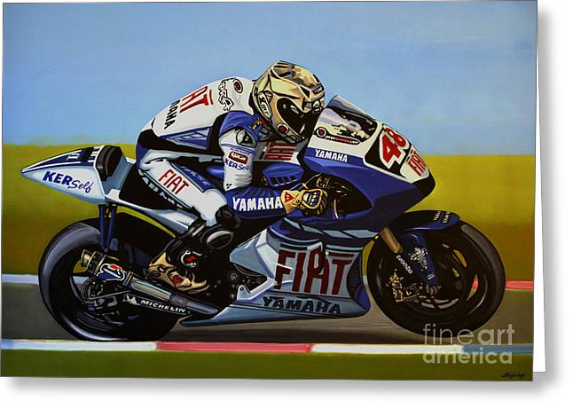 Action Sports Portrait Greeting Cards - Jorge Lorenzo Greeting Card by Paul  Meijering