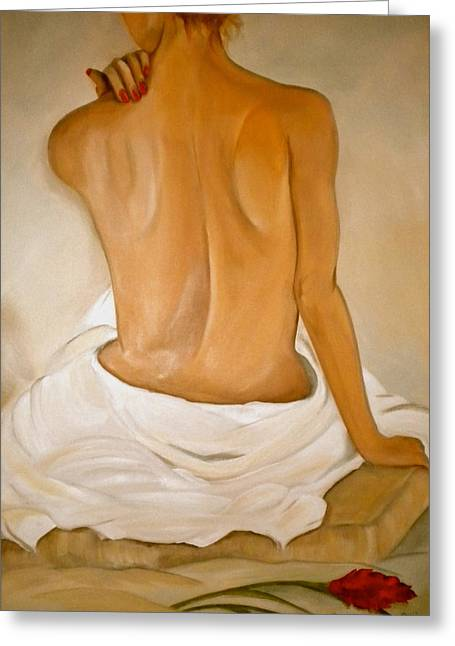 Skin Tones Greeting Cards - Jos Bath Greeting Card by Debi Starr