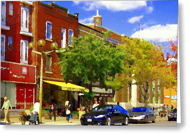 Jos Pappos Furs Street Scene Suburban Shops And Store Fronts Sherbrooke Montreal Carole Spandau Art  Greeting Card by Carole Spandau