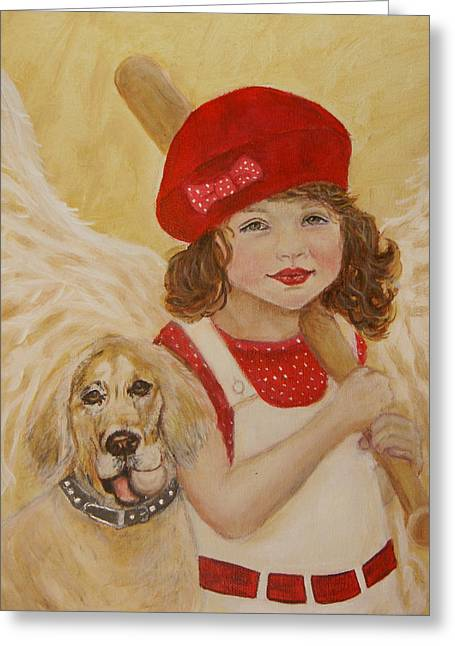 Charlotte Paintings Greeting Cards - Joscelyn and Jolly Little Angel of Playfulness Greeting Card by The Art With A Heart By Charlotte Phillips