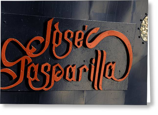 Pirate Ships Greeting Cards - Jose Gasparilla name plate color Greeting Card by David Lee Thompson