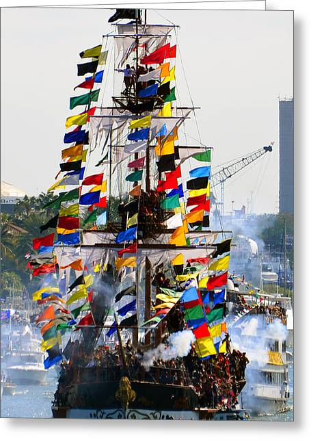 Tall Ships Greeting Cards - Jose Gasparilla Ship work A Greeting Card by David Lee Thompson