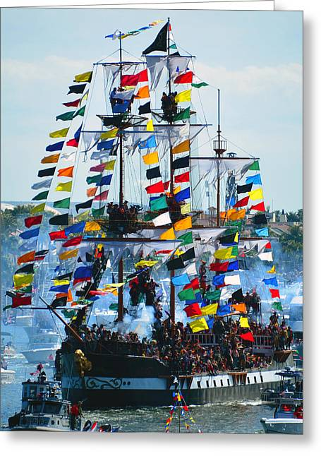 Pirate Ships Greeting Cards - Jose Gasparilla Ship work B Greeting Card by David Lee Thompson