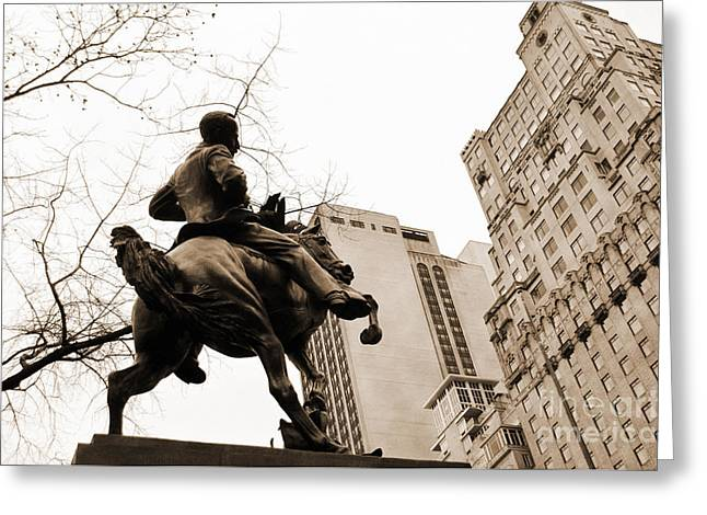 Huntington Hotel Greeting Cards - Jose Marti equestrian statue and the Ritz-Carlton vintage look Greeting Card by RicardMN Photography