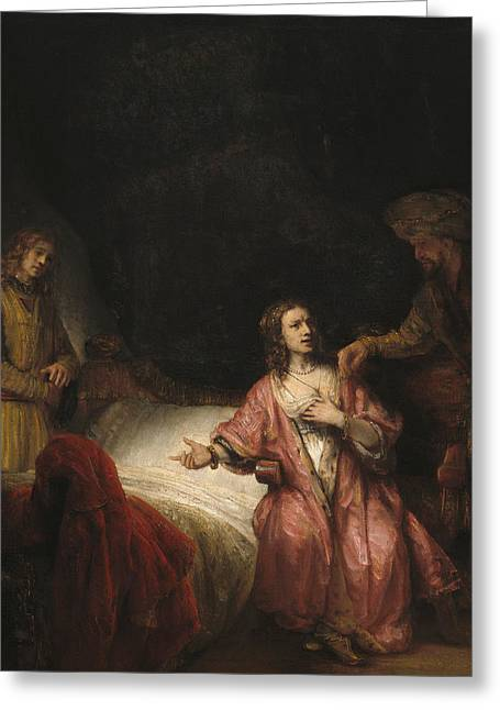 Print On Canvas Greeting Cards - Joseph Accused by Potiphars Wife Greeting Card by Rembrandt