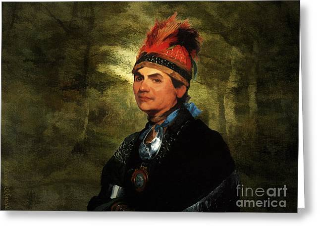 Lianne_schneider Greeting Cards - Joseph Brant after Stuart Greeting Card by Lianne Schneider