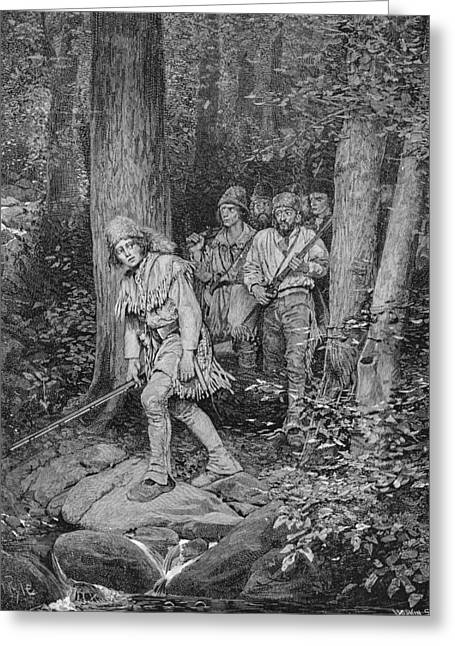 Joseph Brown Leading His Company To Nicojack, The Stronghold Of The Chickamaugas, Engraved Greeting Card by Howard Pyle