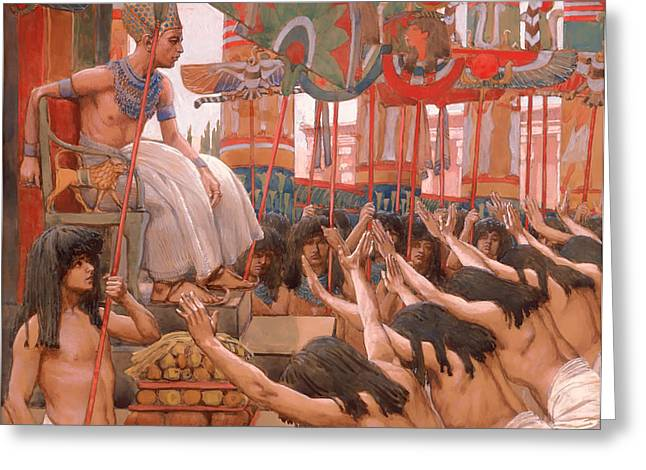 Pharaoh Greeting Cards - Joseph Dwellith in Egypt  Greeting Card by James Tissot