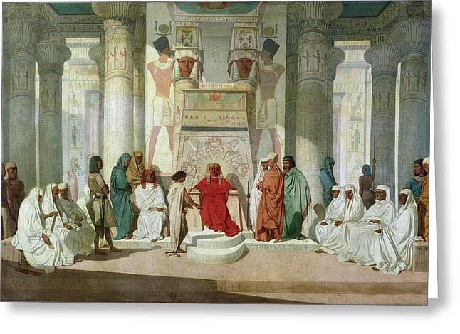 Pharaoh Photographs Greeting Cards - Joseph Explaining Pharaohs Dreams Oil On Canvas Greeting Card by Jean Adrien Guignet