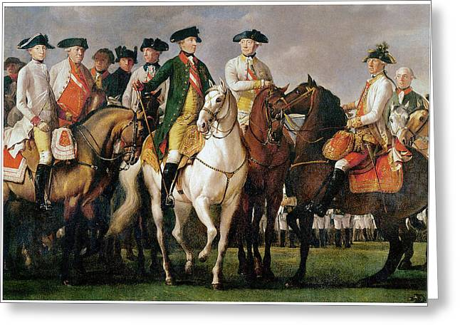 Entourage Greeting Cards - Joseph II and his Entourage Greeting Card by Martin Ferdinand Quadal