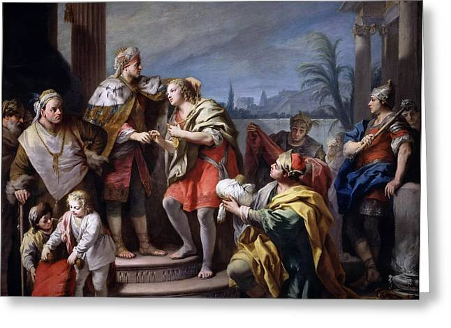 Pharaoh Greeting Cards - Joseph in the Pharaohs Palace Greeting Card by Jacopo Amigoni