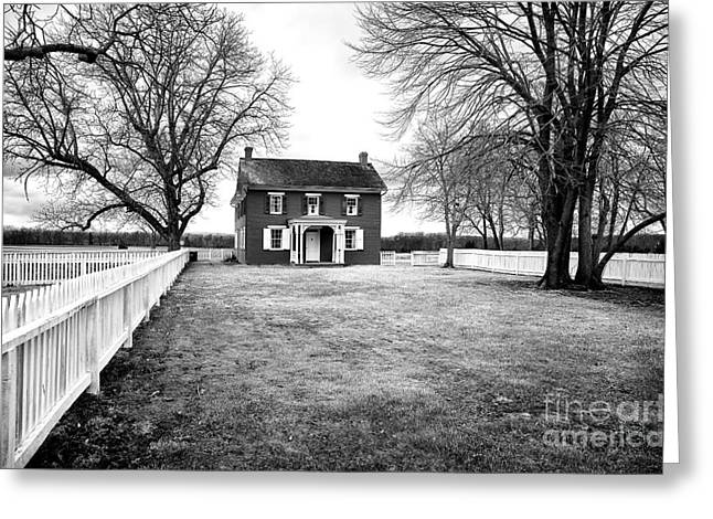 Old School House Greeting Cards - Joseph Serfy House bw Greeting Card by John Rizzuto