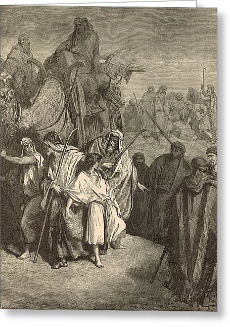 Destiny Drawings Greeting Cards - Joseph Sold into Egypt Greeting Card by Antique Engravings