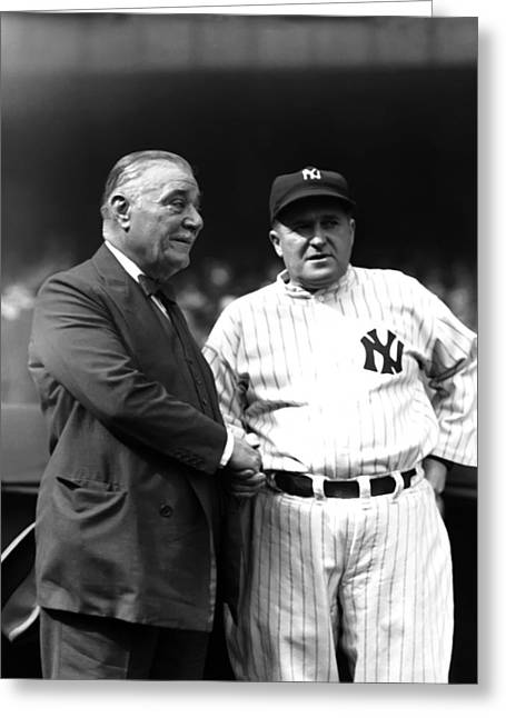 Shaking Hands Greeting Cards - Joseph V. Joe McCarthy with Col. Ruppert Greeting Card by Retro Images Archive