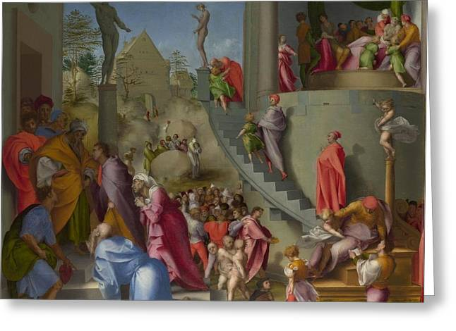 1518 Greeting Cards - Joseph with Jacob in Egypt Greeting Card by Jacopo Pontormo