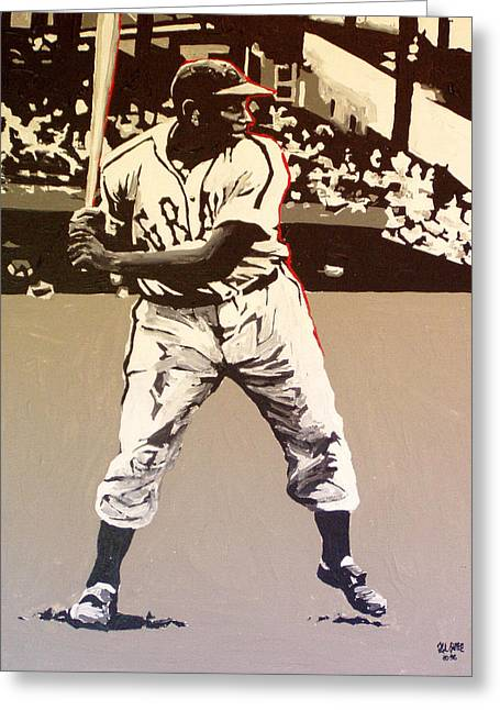 Negro League Greeting Cards - Josh Gibson Homestead Grays Greeting Card by Paul Guyer