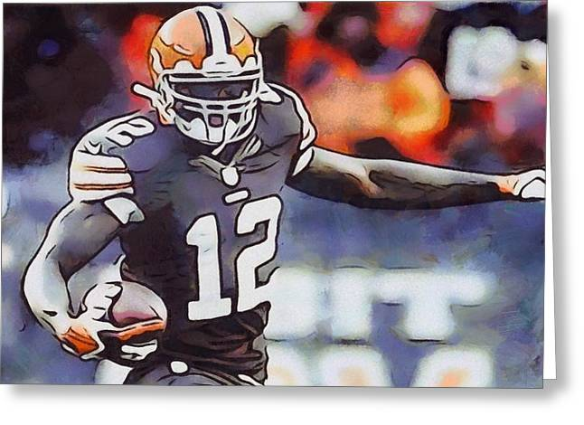 Man Cave Mixed Media Greeting Cards - Josh Gordon Cleveland Browns Greeting Card by Dan Sproul