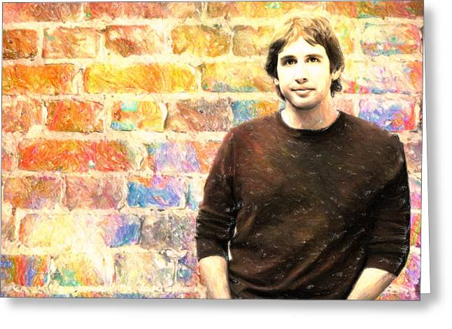 Brick Pastels Greeting Cards - Josh Groban After 5 Greeting Card by Angela A Stanton