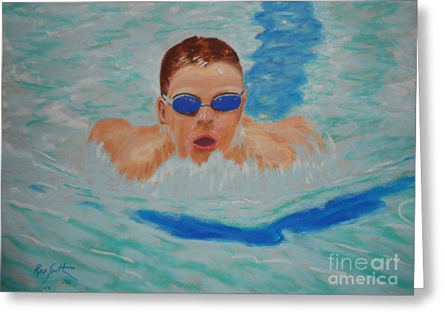 Swimmers Pastels Greeting Cards - Josh Greeting Card by Rae  Smith PSC