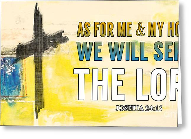 Abstract Digital Paintings Greeting Cards - Joshua 24-15 Greeting Card by Jean Plout