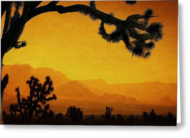 Forest Pyrography Greeting Cards - Joshua forest sunset Greeting Card by Harlean Hansen