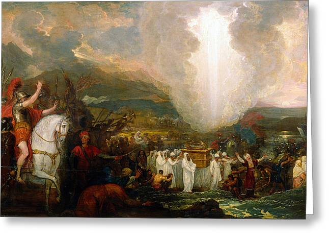 Covenant Greeting Cards - Joshua passing the River Jordan with the Ark of the Covenant Greeting Card by Benjamin West