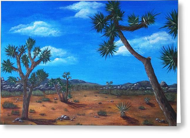 Heat Drawings Greeting Cards - Joshua Tree Desert Greeting Card by Anastasiya Malakhova