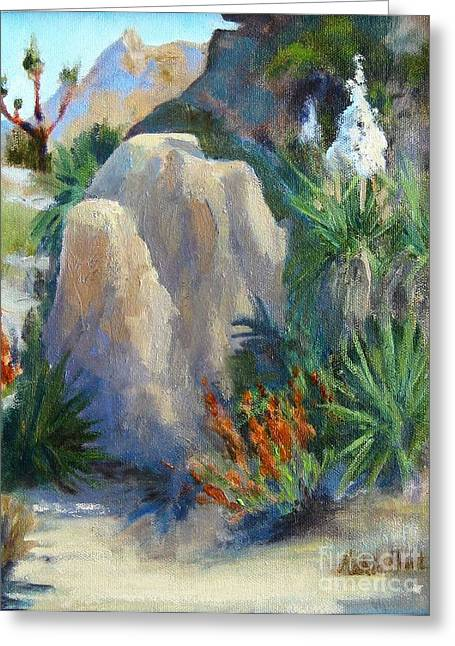 Tree In Rock Greeting Cards -  Joshua Tree in Spring Greeting Card by Maria Hunt