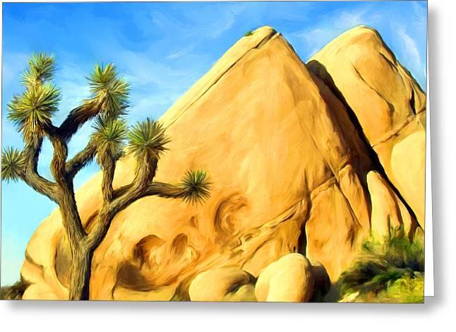 Pyramids Mixed Media Greeting Cards - Joshua Tree Pyramids Greeting Card by Snake Jagger
