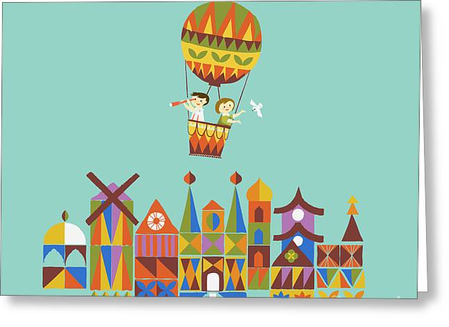 Hot Air Greeting Cards - Journey around the world Greeting Card by Budi Kwan