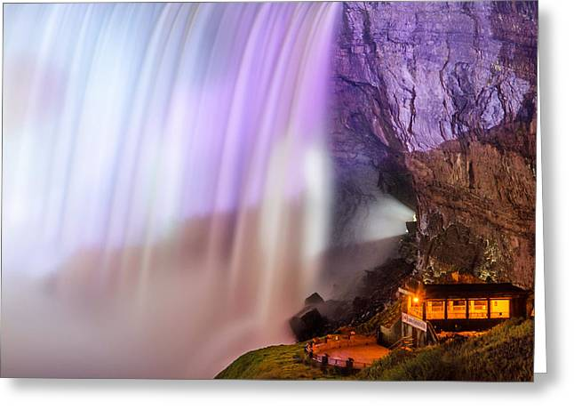 Behind The Falls Greeting Cards - Journey Behind the Falls Greeting Card by Simon Crumpton