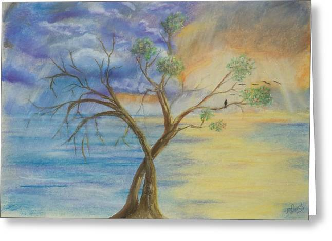 Surreal Landscape Pastels Greeting Cards - Journey Greeting Card by Ira Florou