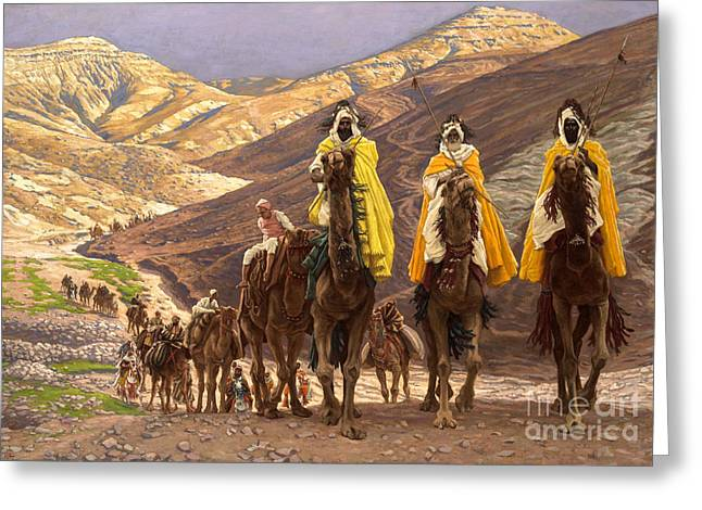Biblical Greeting Card featuring the painting Journey Of The Magi by Tissot