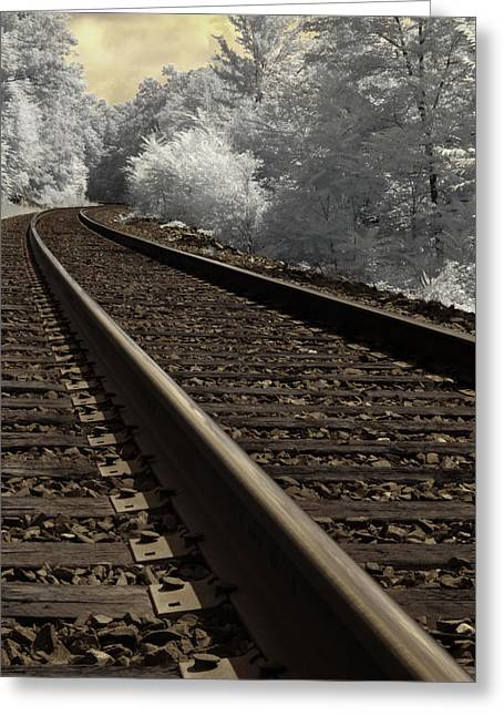 Railroad Tie Greeting Cards - Journey on the Tracks Greeting Card by Luke Moore