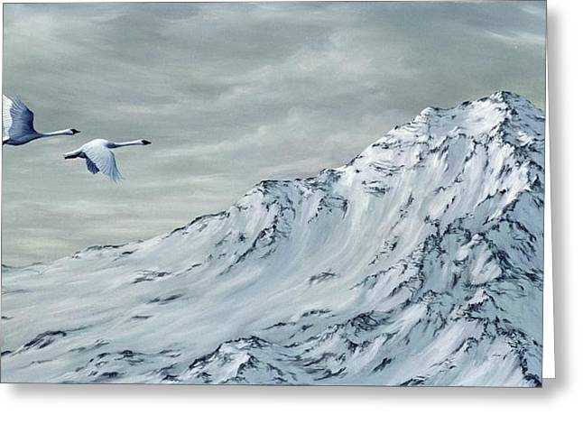 Snowscape Paintings Greeting Cards - Journey Greeting Card by Rick Bainbridge