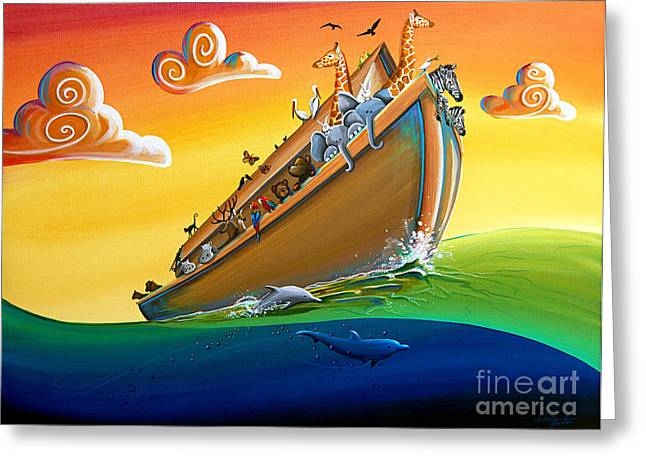 Bible Paintings Greeting Cards - Noahs Ark - Journey To New Beginnings Greeting Card by Cindy Thornton