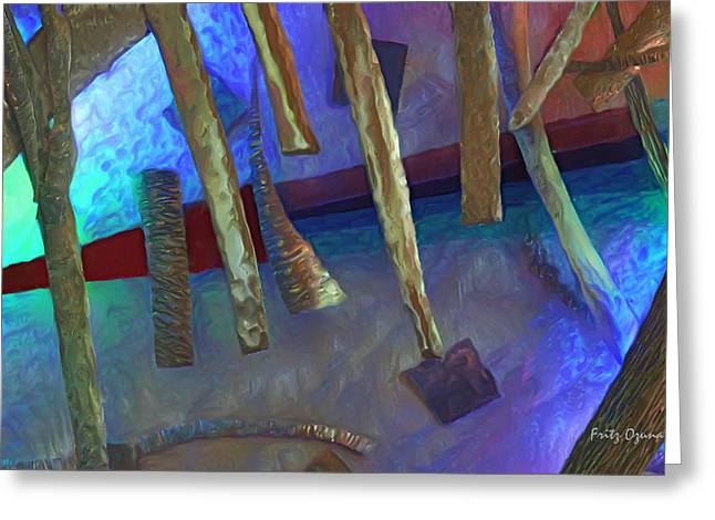 Glasses Reflecting Digital Greeting Cards - Journey to the Center  8757 Greeting Card by Fritz Ozuna