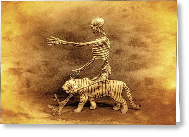 Engraving Digital Greeting Cards - Journey With A Tiger Greeting Card by Jeff  Gettis