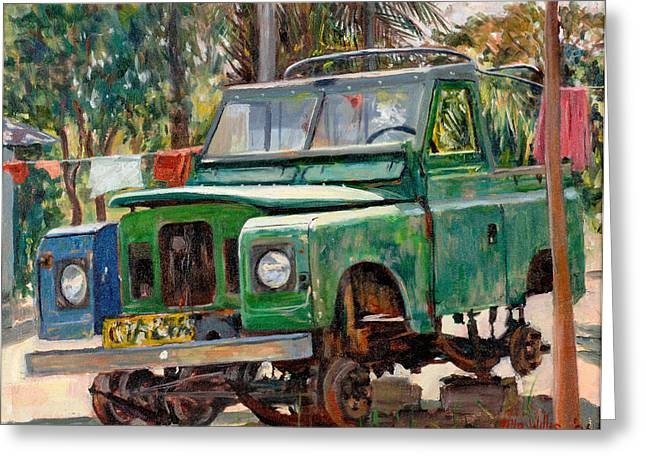 Jeeps Greeting Cards - Journeys End, 2006 Oil On Canvas Greeting Card by Tilly Willis