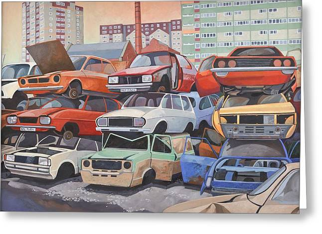 Junk Yard Greeting Cards - Journeys End Oil Oncanvas Greeting Card by Anna Teasdale