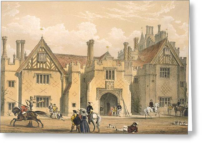 Jousting Greeting Cards - Joust Practice, Compton Wynyates Greeting Card by Joseph Nash