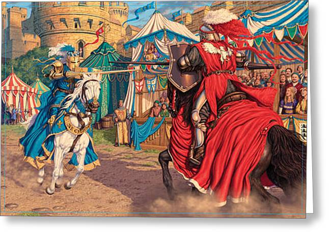 Contest Greeting Cards - Jousting Knights Greeting Card by Steve Read