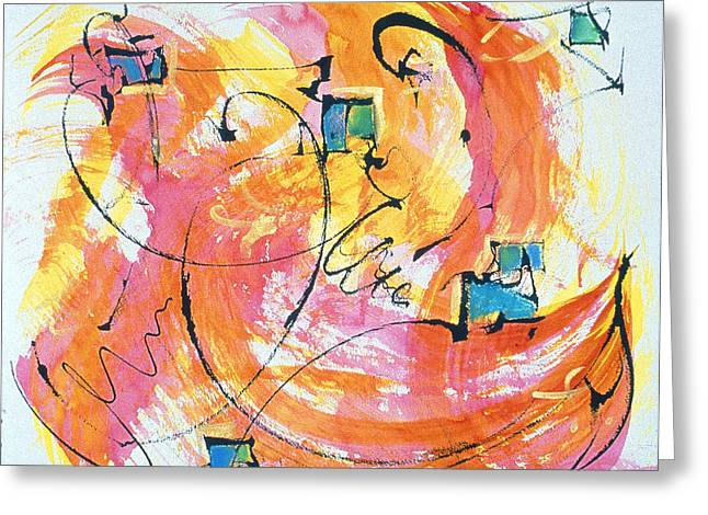 Whimsical Spontaneous Greeting Cards - Joy Greeting Card by Asha Carolyn Young