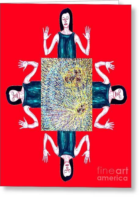 Child Jesus Mixed Media Greeting Cards - Joy At The Virgin Birth Greeting Card by Patrick J Murphy