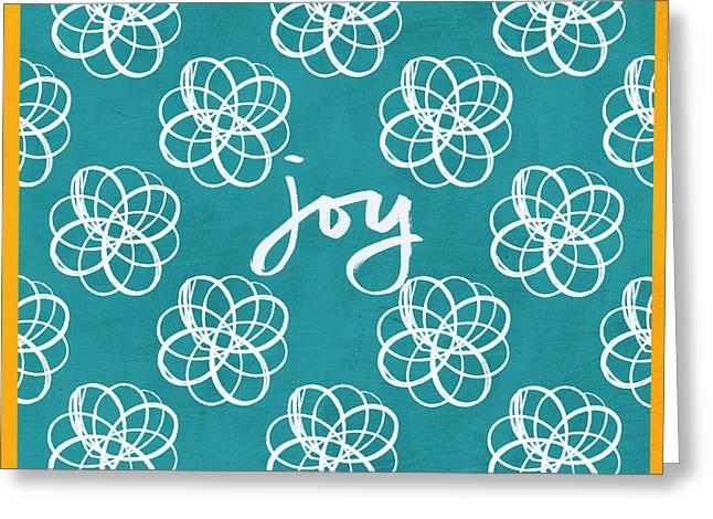 Joy Boho Floral Print Greeting Card by Linda Woods