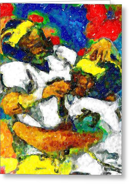 Running Back Paintings Greeting Cards - Joy Endzone Joy Greeting Card by John Farr